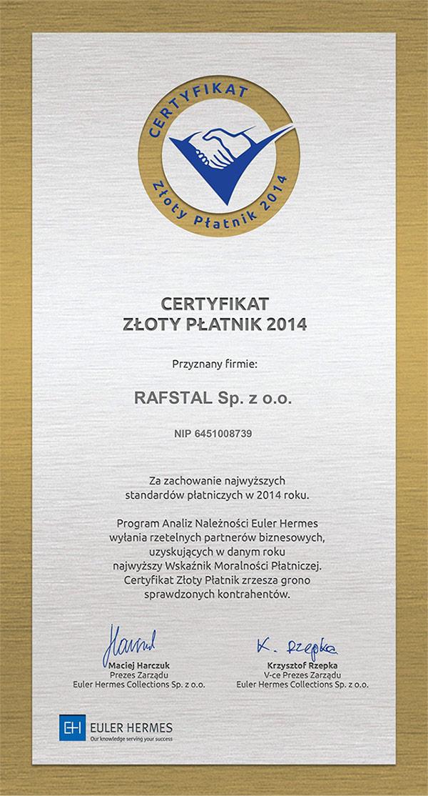 Certyfikat_ZłotyPłatnik2014_Rafstal